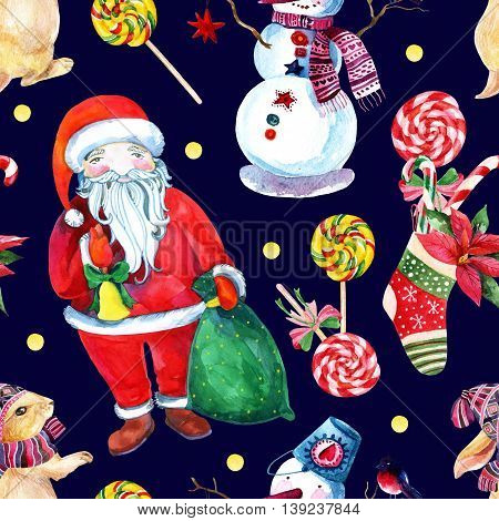 Watercolor christmas background with Santa Clause snowman bunny and gifts. Hand painted watercolor illustration