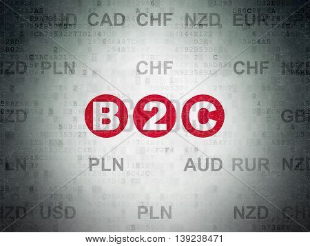 Business concept: Painted red text B2c on Digital Data Paper background with Currency