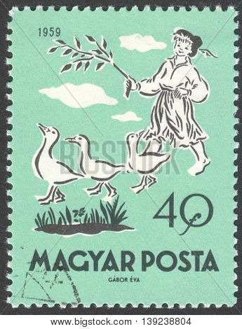 MOSCOW RUSSIA - CIRCA JANUARY 2016: a post stamp printed in HUNGARY shows Matt the Goose Boy the series