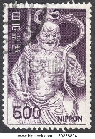 MOSCOW RUSSIA - CIRCA JANUARY 2016: a post stamp printed in JAPAN shows the Kongo-Rikishi Statue Todai Temple Nara circa 1969