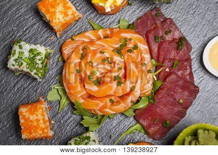 Closeup of sushi on stone slate