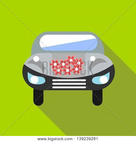 Wedding car icon in flat style with long shadow. Machine symbol
