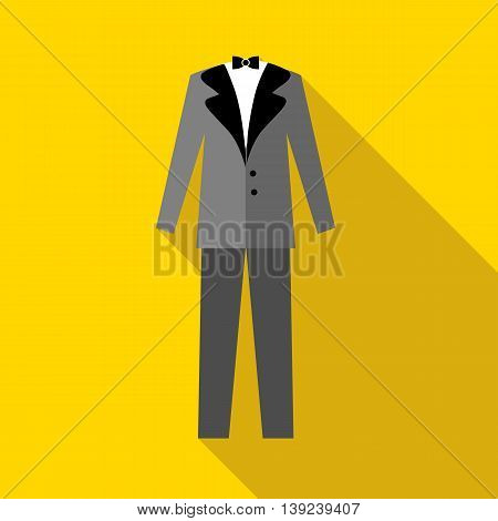 Mens wedding suit icon in flat style with long shadow. Clothing symbol