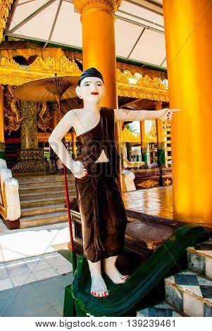 Shwedagon Paya Pagoda, Sculpture. Yangon, Myanmar