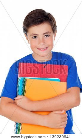 Student boy with ten years old isolated on a white background