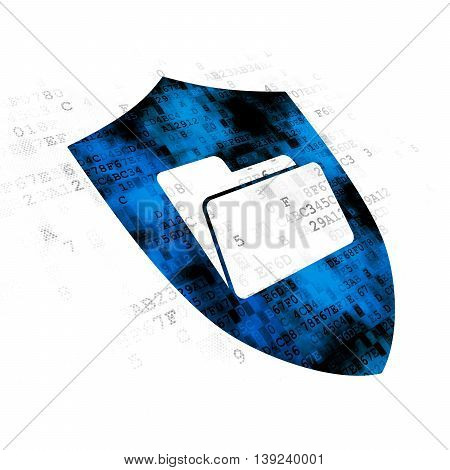 Finance concept: Pixelated blue Folder With Shield icon on Digital background
