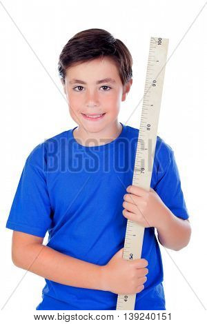 Ten year old boy with a meter of wood isolated on white background