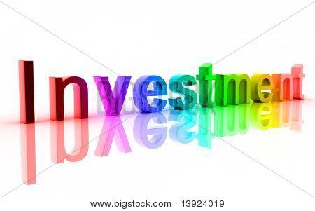 Digital illustration of investment in white background