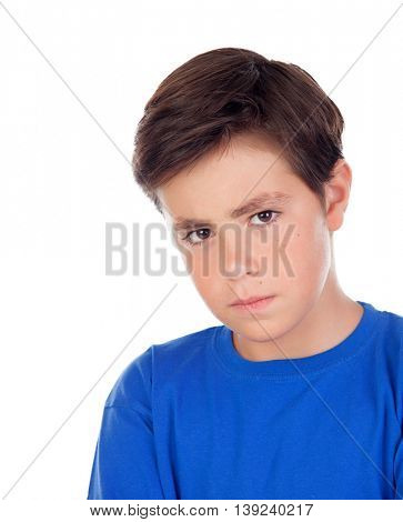 Angry child with ten years old and blue t-shirt isolated on a white background
