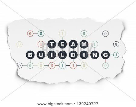 Finance concept: Painted black text Team Building on Torn Paper background with Scheme Of Binary Code
