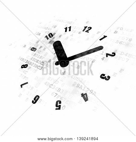Timeline concept: Pixelated black Clock icon on Digital background