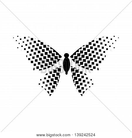 Butterfly with rhombus on wings icon in simple style isolated on white background. Insect symbol