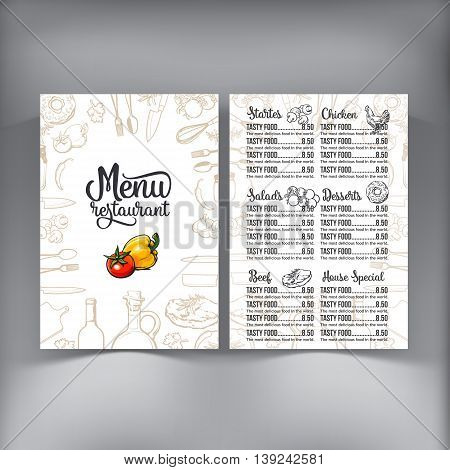 Kitchenware, vegetables and cutlery menu design sketch style vector illustration isolated on white background. Concept of menu banner poster flyer cover design for cafes and restaurants