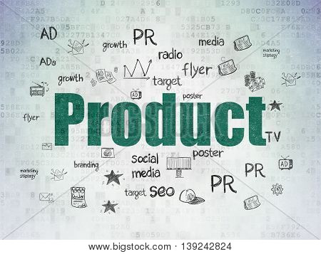 Marketing concept: Painted green text Product on Digital Data Paper background with  Hand Drawn Marketing Icons