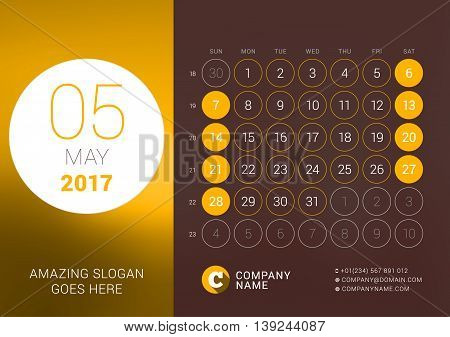 May 2017. Desk Calendar For 2017 Year. Vector Design Print Template With Place For Photo. Week Start