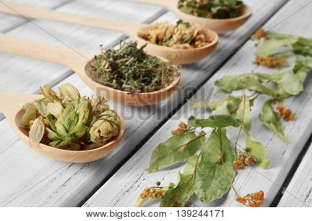 Natural flower and herb selection in wooden spoons on wooden background