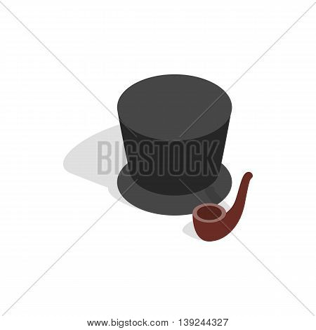 Hat and smoking pipe icon in isometric 3d style isolated on white background. Accessories symbol