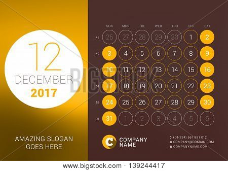 December 2017. Desk Calendar For 2017 Year. Vector Design Print Template With Place For Photo. Week