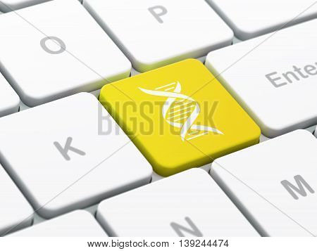 Healthcare concept: computer keyboard with DNA icon on enter button background, selected focus, 3D rendering