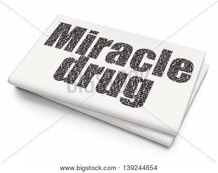 Health concept: Pixelated black text Miracle Drug on Blank Newspaper background, 3D rendering