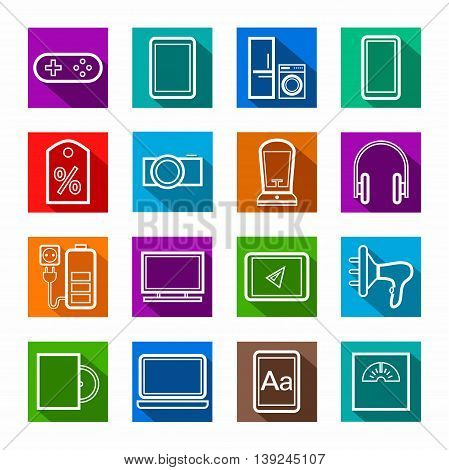 Gadgets, appliances, colored, flat outline icons.  Vector linear icons of home appliances, gadgets, and accessories. White image on a colored background with a shadow.