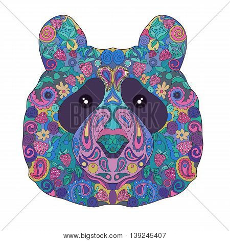 Ethnic Zentangle Ornate HandDrawn Panda Bear Head. Painted Doodle Animal Head Vector Illustration. Sketch for Tattoo Poster Print or t-shirt. Relaxing Coloring Book for Adult and Children.
