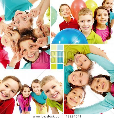 Collage of team of happy kids in joyful mood