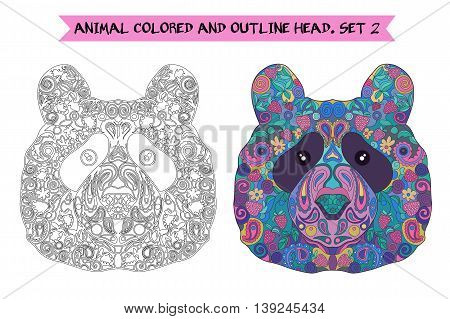 Ethnic Zentangle Ornate HandDrawn Panda Bear Head. Black and White and Painted Ink Doodle Animal Head Vector Illustration. Sketch for Tattoo Poster Print or t-shirt. Relaxing Coloring Book for Adult and Children.