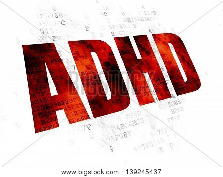 Healthcare concept: Pixelated red text ADHD on Digital background