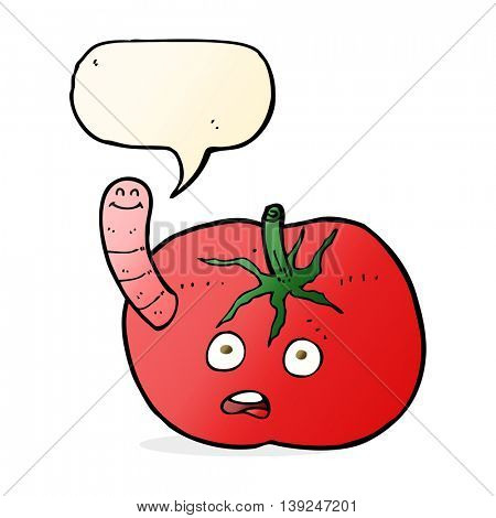 cartoon tomato with worm with speech bubble
