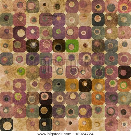 An abstract pattern with grungy squares and circles in purple and green tones