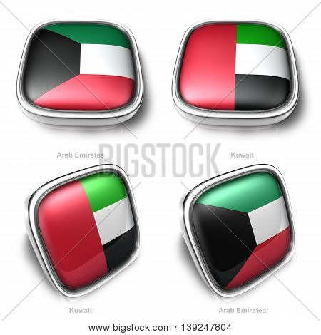 3D Arab Emirates And Kuwait Flag Button