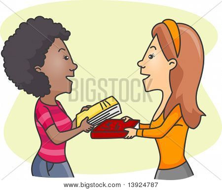 Illustration of Girls Exchanging Books