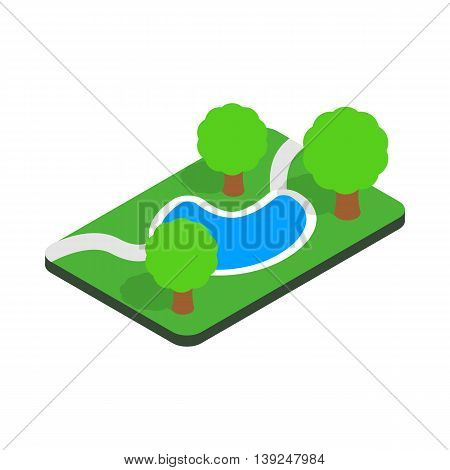 Small pond in the park icon in isometric 3d style isolated on white background