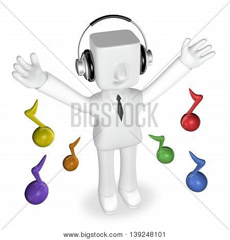 3D Business Man Listening By Big Headphone With Colorful Note