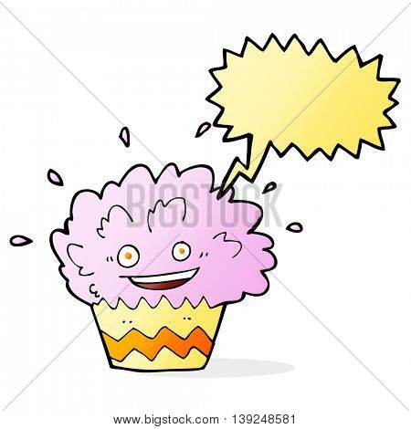 cartoon exploding cupcake with speech bubble