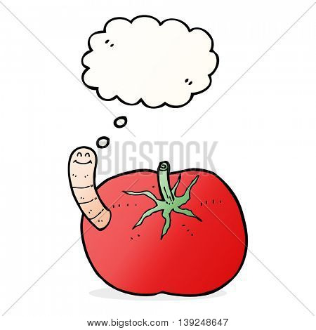 cartoon tomato with worm with thought bubble