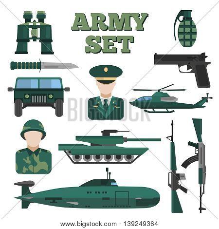 Flat army isolated icon set military in uniform vehicles in khaki color vector illustration