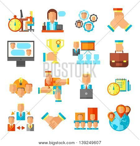 Colored isolated teamwork flat icon set on team spirit and delivering the outcome themes vector illustration