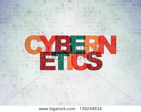 Science concept: Painted multicolor text Cybernetics on Digital Data Paper background