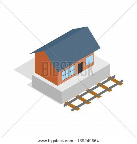 Train station building icon in isometric 3d style isolated on white background