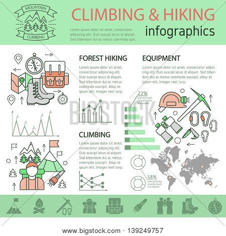 Climbing and hiking linear infographics with mountain equipment world map tourist objects graphs statistics diagrams vector illustration
