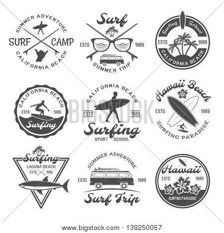 Surfing emblem set with descriptions of summer adventure California beach surf camp surf summer trip for example vector illustration