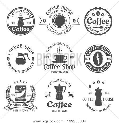 Coffee emblem set with premium beams coffee house and coffee shop descriptions vector illustration