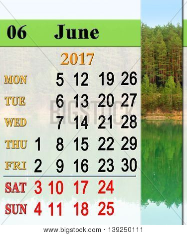calendar for June 2016 on the background of forest lake