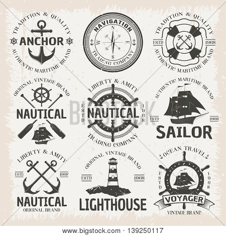 Nautical emblem set in color with ocean travel voyager nautical sailor lighthouse vintage brands descriptions vector illustration