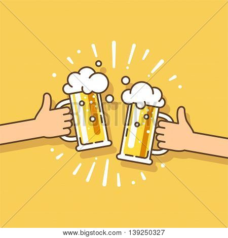 Two hands holding beer glasses with foam. Concept of celebration in pub. Vector illustration in flat design.