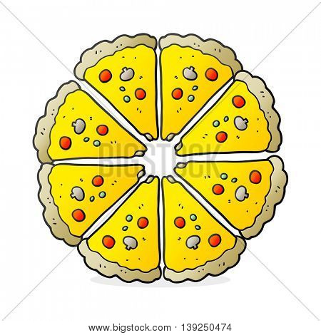 freehand drawn cartoon pizza