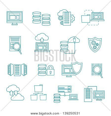 Datacenter icon set in linear style with security cloud computers information themes vector illustration
