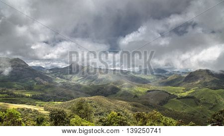 A wide view of The Western Ghats from Rajamalai Hills, Munnar, Kerala, India
